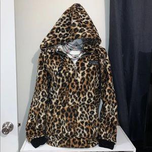 XS VS Pink Leopard Sherpa Hoodie